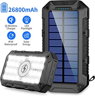 FKANT Power Bank Solar 26800mAh Batería Externa Solar con 4 Puertos (3 Salidas USB & QI Carga Inalámbrico) Cargador Solar 28 Linterna LED y Gancho Bateria Moviles IPX4 para iPhone Android iPad