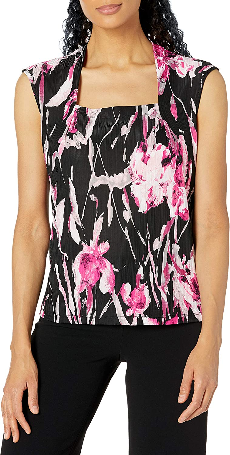Kasper Women's Handpainted Floral Print Square Neck Cami with Cap Sleeves