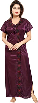 TUCUTE Women Satin Night Gown (Wine) (Free Size) D.No.1242