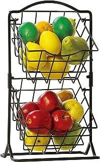 SunnyPoint 2-Tier Metal Mini Countertop Fruit Storage Basket, Antique Black