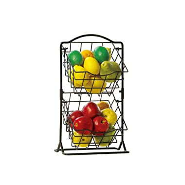 SunnyPoint 2-Tier Metal Mini Countertop Fruit Storage Basket, Antique Black