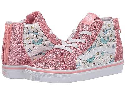 Vans Kids Sk8-Hi Zip (Infant/Toddler) ((Shark Party) Pink Icing/True White) Girls Shoes