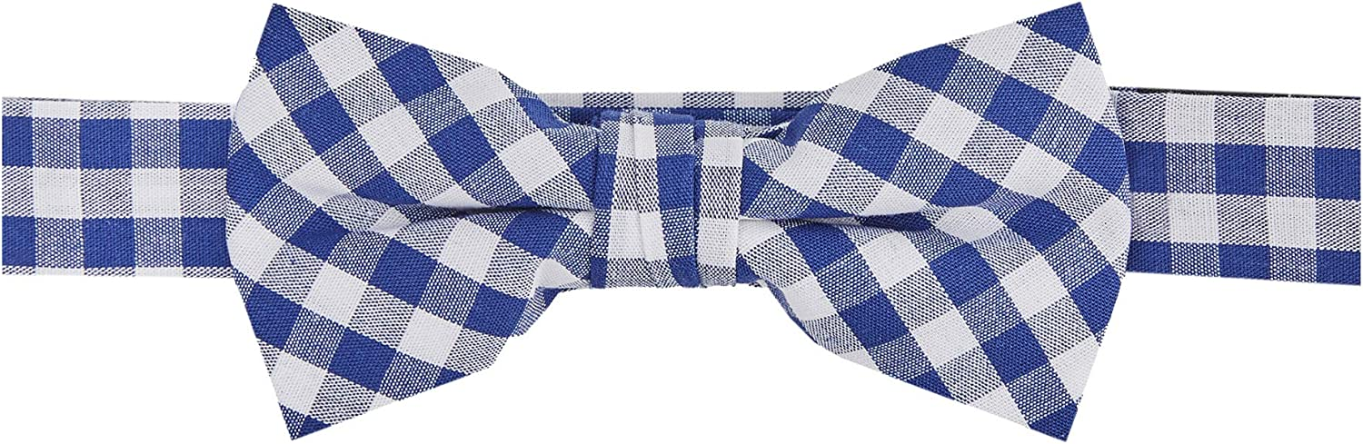 Jacob Alexander Boys' Gingham Checkered Pattern Pre-Tied Banded Bow Tie