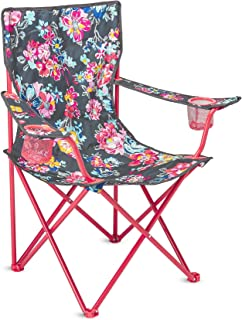 Vera Bradley Portable Folding Chair with Cup Holders and Matching Cover with Shoulder Strap, Holds Up to 225 Pounds