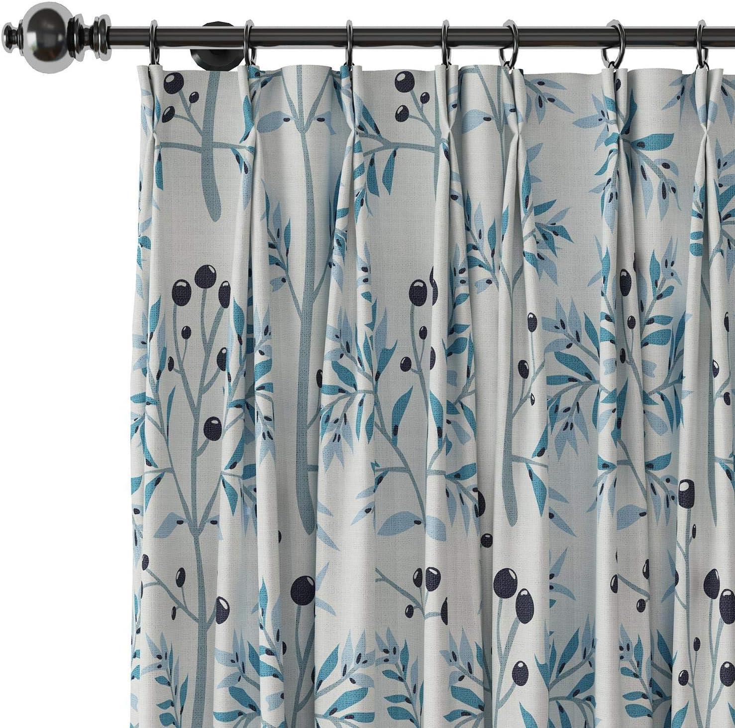 ChadMade Linen Texture Printed List price Pleated Curtain Botantical Pinch San Diego Mall