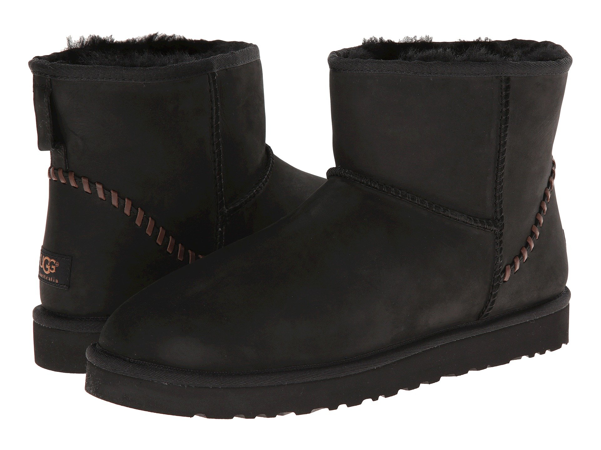 UGG Classic Mini Deco (Black Leather) Men's Boots