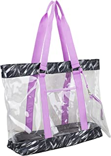 Eastsport Supreme Deluxe 100% Clear PVC Printed Large Tote with Free Large Wristlet, Black/Brush Stroke Print/Lilac Trim