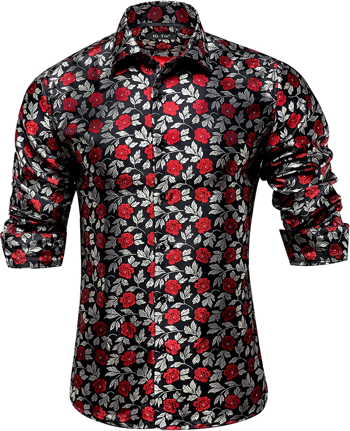 Hi-Tie Sales of SALE items from new works Men's Casual Jacquard Silk Shirt Ranking TOP1 Dress Button Shirts Down