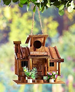 Hot Sale! Rustic No Bears Allowed Wooden Log Cabin Style Birdhouse Bird House NEW