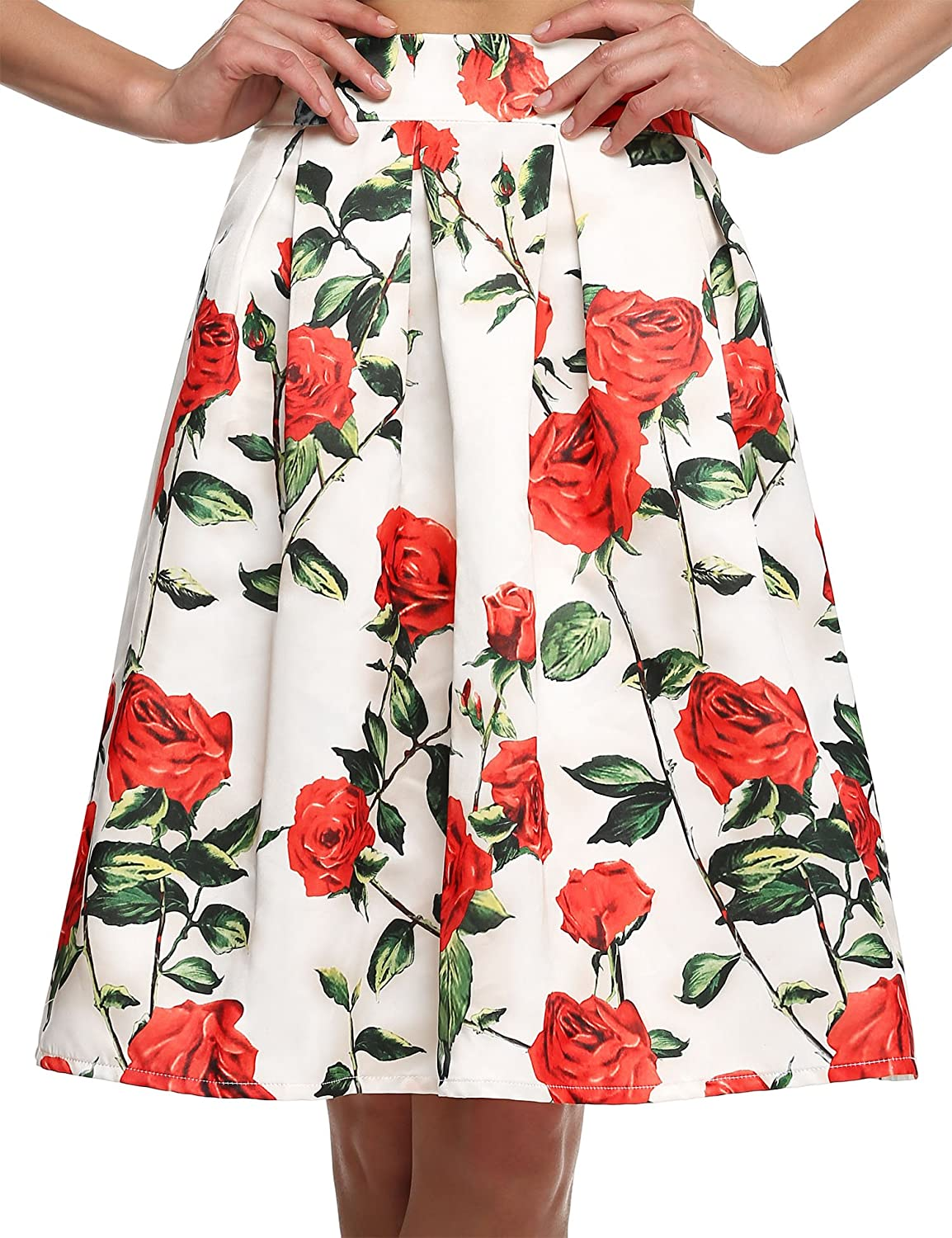 Zeagoo Women Floral Print Fort Worth Mall Free shipping / New Pleated Skirt Vintage High Waist