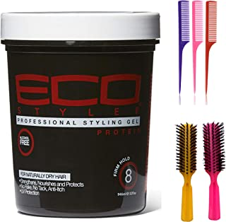 ECOCO Eco Style Gel, Black Protein 32 Ounce (Including 3 Piece Rattail Hair Comb Set & 2 pc Colorful Handle Nylon Bristles...