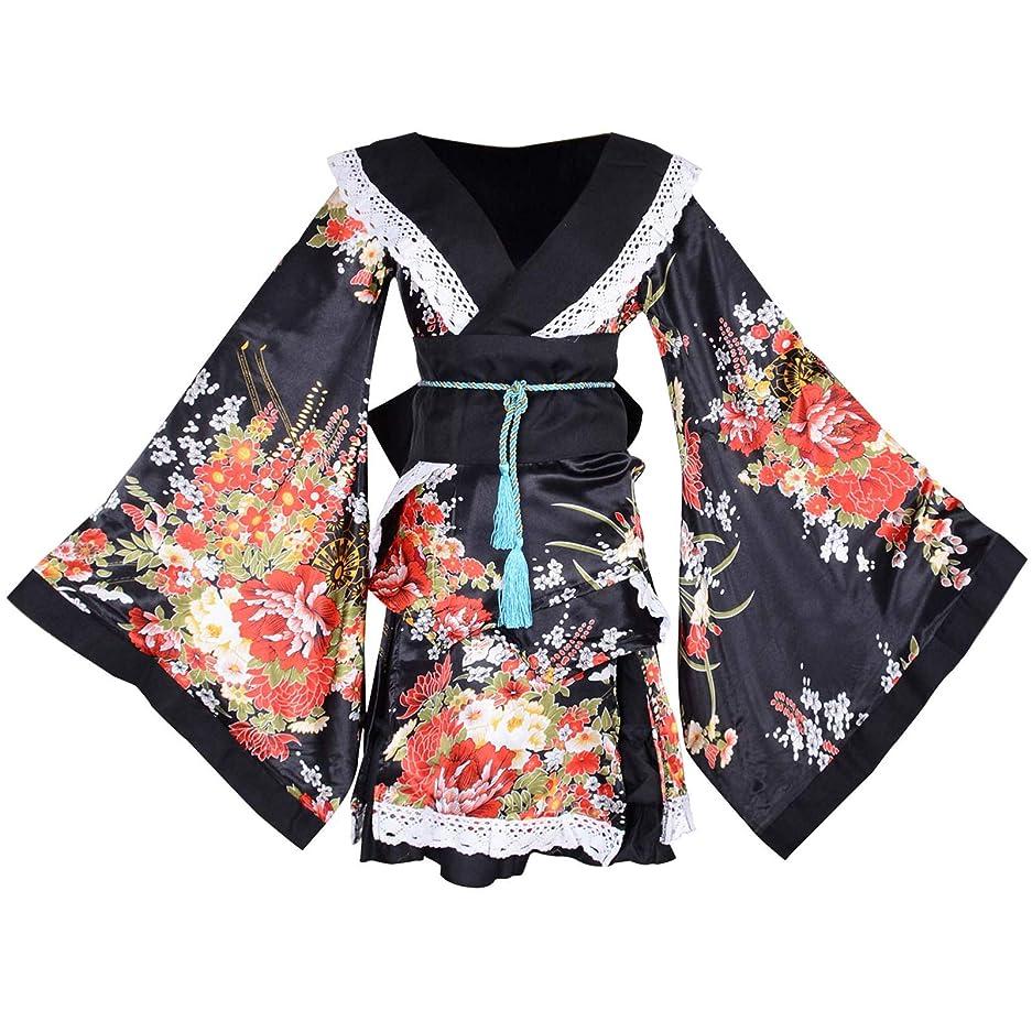 必要条件良い旅行セクシー 着物風 ミニドレス 紺色 ネイビー 洋蘭 花柄 半袖 着物ドレス ランジェリー バスローブ ナイトウェア 帯付き