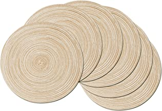 SHACOS Round Braided Placemats Set of 6 Washable Round Placemats for Kitchen Table 15 inch (Beige, 6)