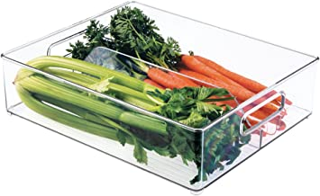 "InterDesign Refrigerator and Freezer Divided Storage Organizer Bins for Kitchen, 12"" x 4"" x 14.5"", Clear"