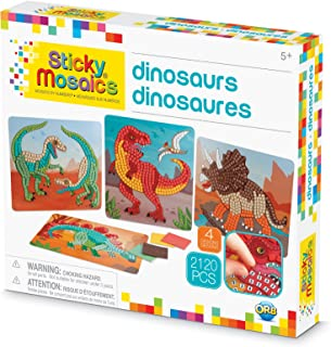 ORB The Factory Sticky Mosaics Dinosaurs Arts & Crafts, Green/Brown/Orange/Blue, 12