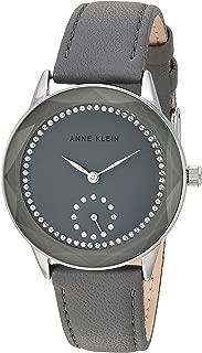 Anne Klein Women's Swarovski Crystal Accented Silver-Tone and Grey Leather Strap Watch, AK/3459GYGY