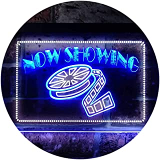 """ADVPRO Now Showing Film Movie Home Theater Dual Color LED Neon Sign White & Blue 12"""" x 8.5"""" st6s32-i0650-wb"""