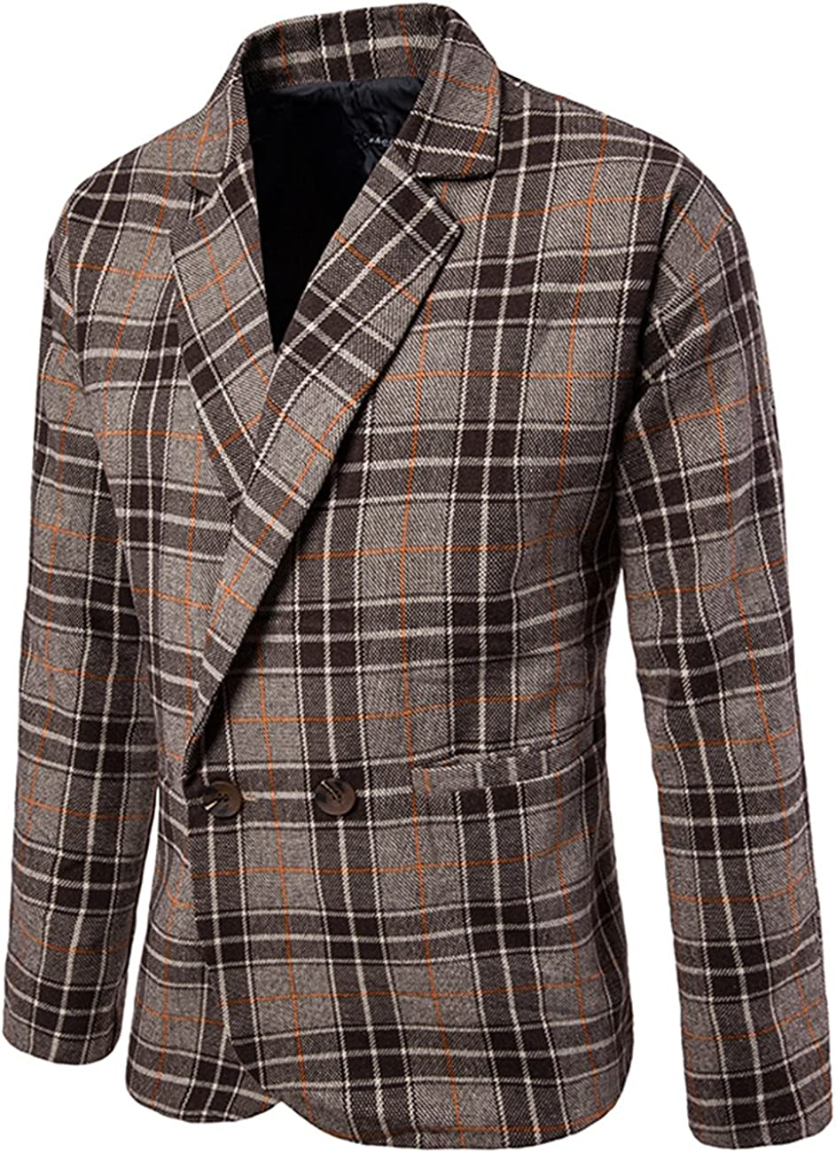 MiNi Men's Modern One Button Woolen Casual Fashion Jacket Blazer (Brown Grid,XS)