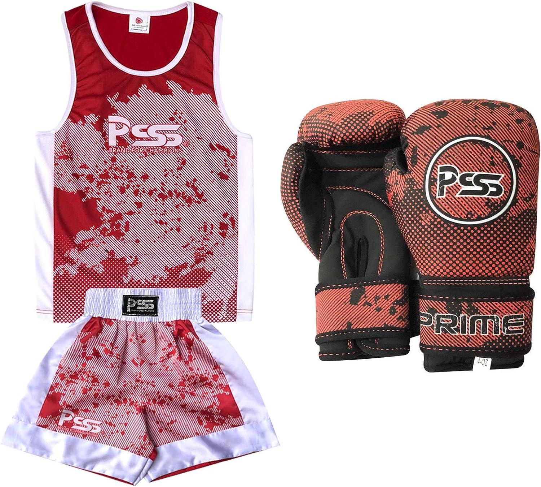 Prime Leather Kinder Boxanzug Set Set Set mit 2 Teilen, Sublimationsdesign, Boxanzug, Softshell-Boxhandschuhe 1019, 170 g B07GBTNMM2  Auktion a77936