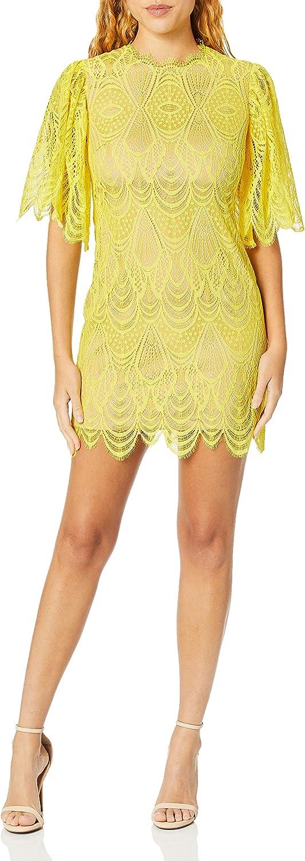 Dress the Population Women's Toni Lace Flutter Sleeve Short Mini Shift Dress