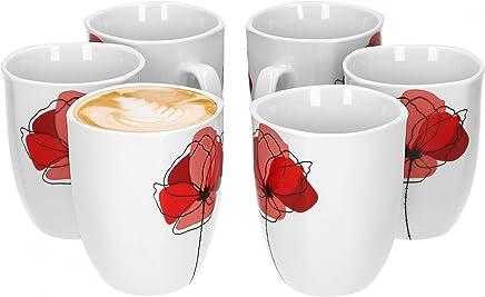 Preisvergleich für Van Well Monika 6er Set Kaffeebecher, 330 ml, H 10,3 cm, Kaffeetasse, Blumendekor, edles Marken-Porzellan