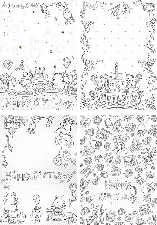 Geburtstagskarten zum Ausmalen für Kinder und Erwachsene, Set