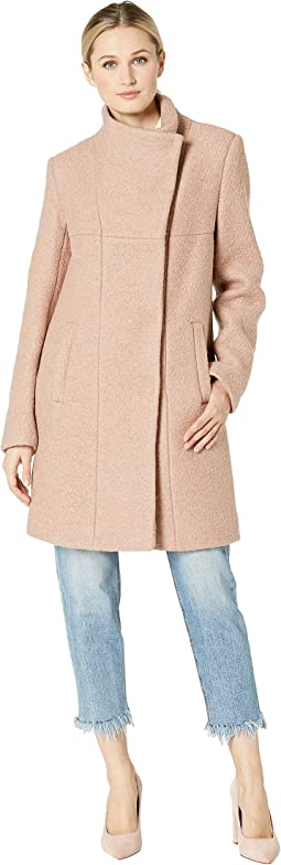 Asymmetrical Pressed Boucle Wool Coat