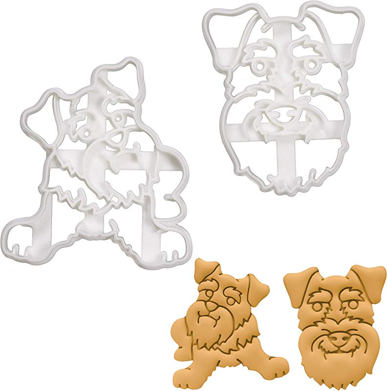Set Of 2 Mini Schnauzer Cookie Cutters Designs Body Face 2 Pieces Bakerlogy