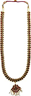 India4you Imitation Gold Polished Brass with Kemp & Pearls Bharatanatyam Dance Temple Jewelry Long Necklace