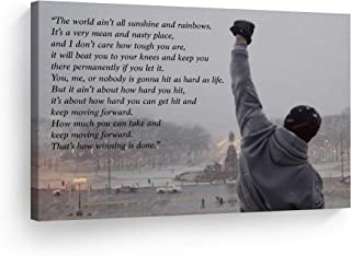 Smile Art Design Rocky Balboa Speech Canvas Print Motivational Quote Hope Artwork Boxing Sylvester Stallone Living Room Home Decoration Wall Art Ready to Hang- Made in The USA - 8x12