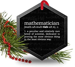 Mathematician Definition Funny Glass Christmas Ornament