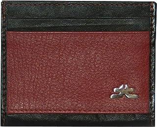 Laveri Genuine Leather Credit Card Holder Wallet Unisex Bill and Card Holder - Leather, Red and Black