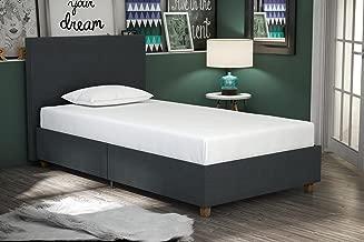 DHP Alexander Upholstered Platform Bed with Wooden Slats Support, Dark Blue Linen - Twin Size