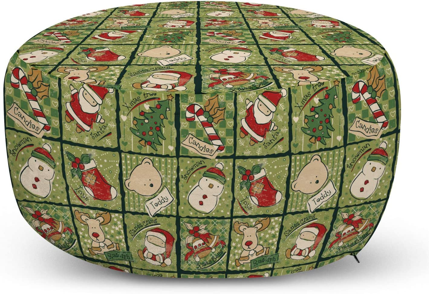 Super beauty product restock quality top! Ambesonne Great interest Christmas Pouf Cover with Claus Zipper Cartoon Santa