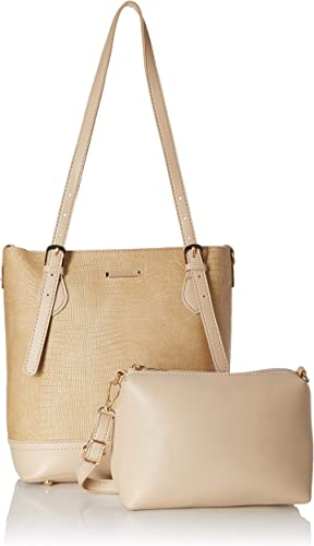 Women S Handbag With Pouch Cream Set Of 2