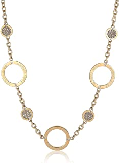 Michael Kors Women Cubic Zirconia Gold Toned Etched Logo Pave Statement Necklace