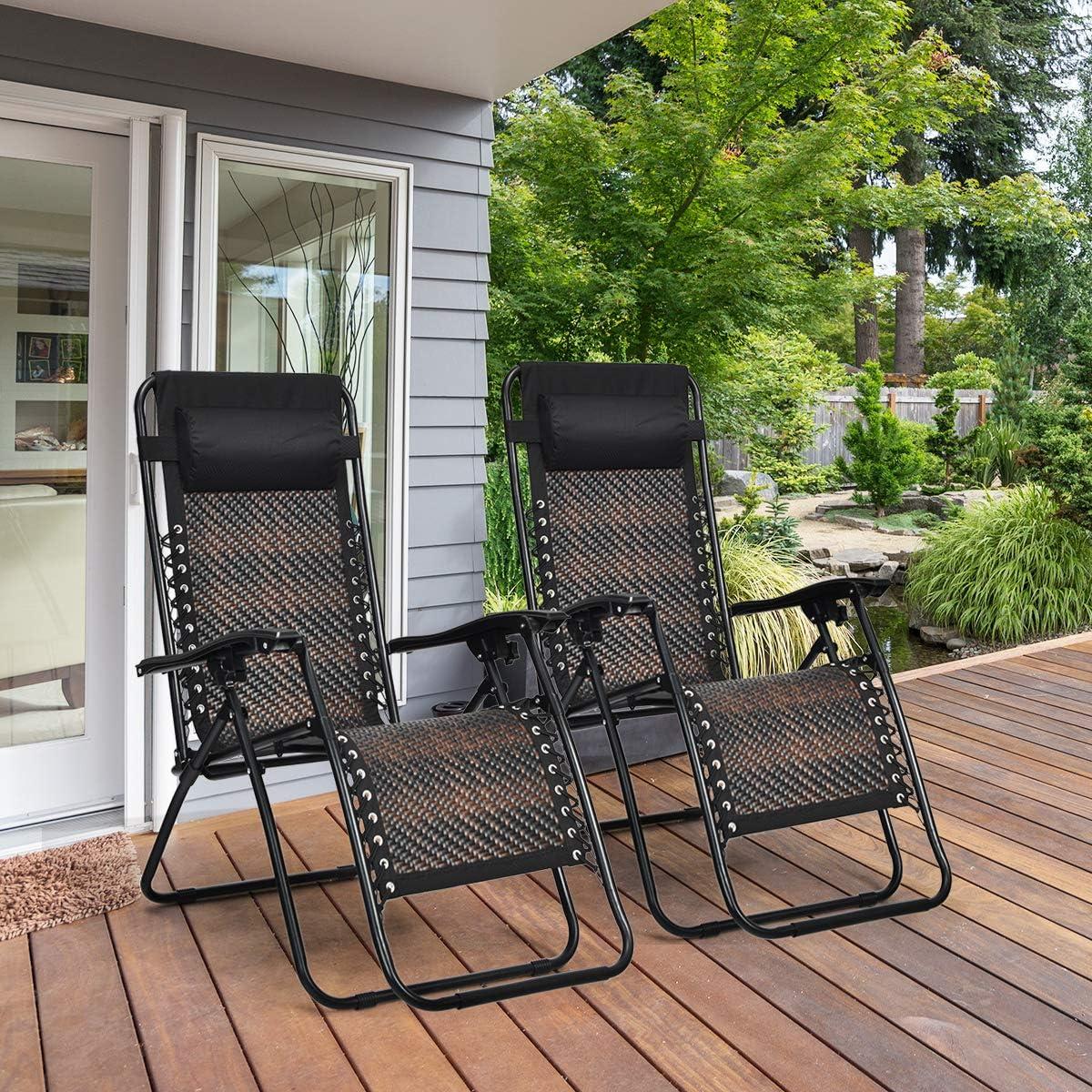 Buy Tangkula Patio Rattan Zero Gravity Lounge Chair, Outdoor ...