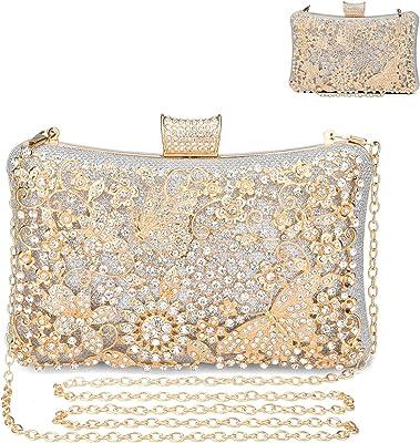UBORSE Clutch Damen Strass Luxus Abendttasche Kristall Glitter Handtasche Glänzend Umhängetasche Modisch Elegant Schultertasche Portemonnaie Tasche für Cocktailparty Abendparty Tanzparty Geburtstag