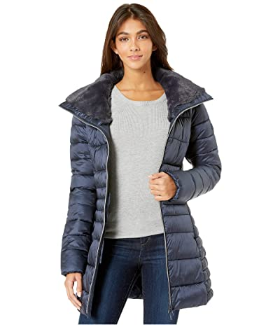 Save the Duck Iris 9 Puffer Coat with Faux Fur Lined Collar (Blue/Black) Women