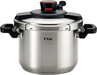 T-fal P45007 Clipso Stainless Steel Dishwasher Safe PTFE PFOA and Cadmium Free 12-PSI Pressure Cooker Cookware, 6.3-Quart, Silver (Renewed)
