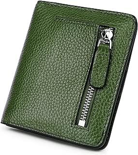 BIG SALE-AINIMOER Women's RFID Blocking Leather Small Compact Bifold Pocket Wallet Ladies Mini Purse with id Window (Green)