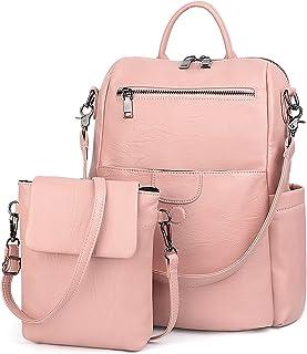UTO Women Backpack Purse PU Washed Leather Ladies Rucksack Detachable Crossbody Shoulder Bag Pink