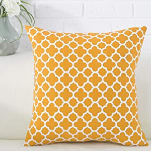 TAOSON Dark Yellow Moroccan Quatrefoil Accent Pattern Cushion Cover Pillow Cover Pillowcase Cotton Canvas Pillow Sofa Throw White Printed with Hidden Zipper Closure Only Cover 18 x 18 Inch/45x45cm
