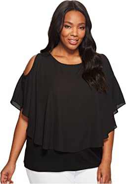 Plus Size Cold Shoulder Layered Top