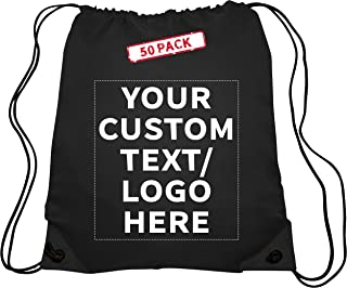 Drawstring Backpack - 50 pack - Customizable Text, Logo - Classic Polyester Design - Great for Sports, Shoes, Gym, Party Favors Soccer - Black