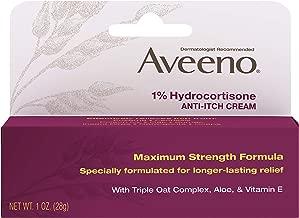 Aveeno Maximum Strength 1% Hydrocortisone Anti-Itch Cream with Pure Oat Essence, Triple Oat complex, Aloe & Vitamin E, For Itch, Rash & Redness Relief, 1 oz (Pack of 2)