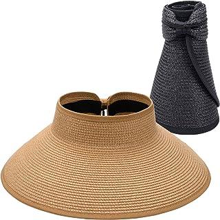 Maylisacc أقنعة شمس قابلة للطي للنساء ، حماية من الشمس واسعة الحافة قبعة شمس قابلة للتعديل Topless قبعة الشاطئ