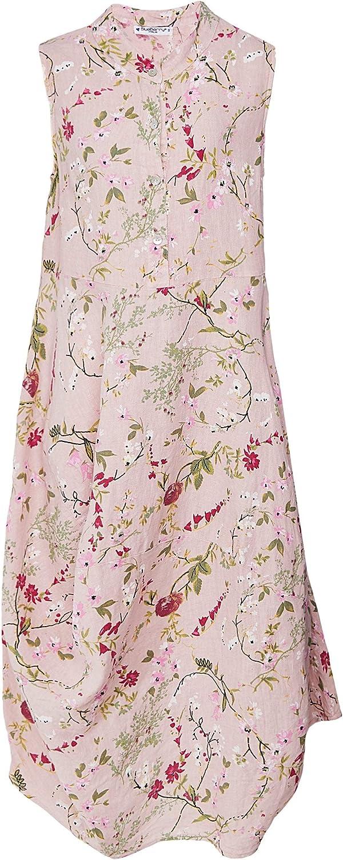 blueeberry Italia Women's Linen Garden Print Dress Pink