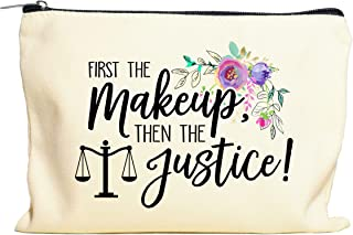 Moonwake Designs First the Makeup then the Justice Makeup Bag - Gift for Lawyer, Future Lawyer Gift, Cosmetic Bag
