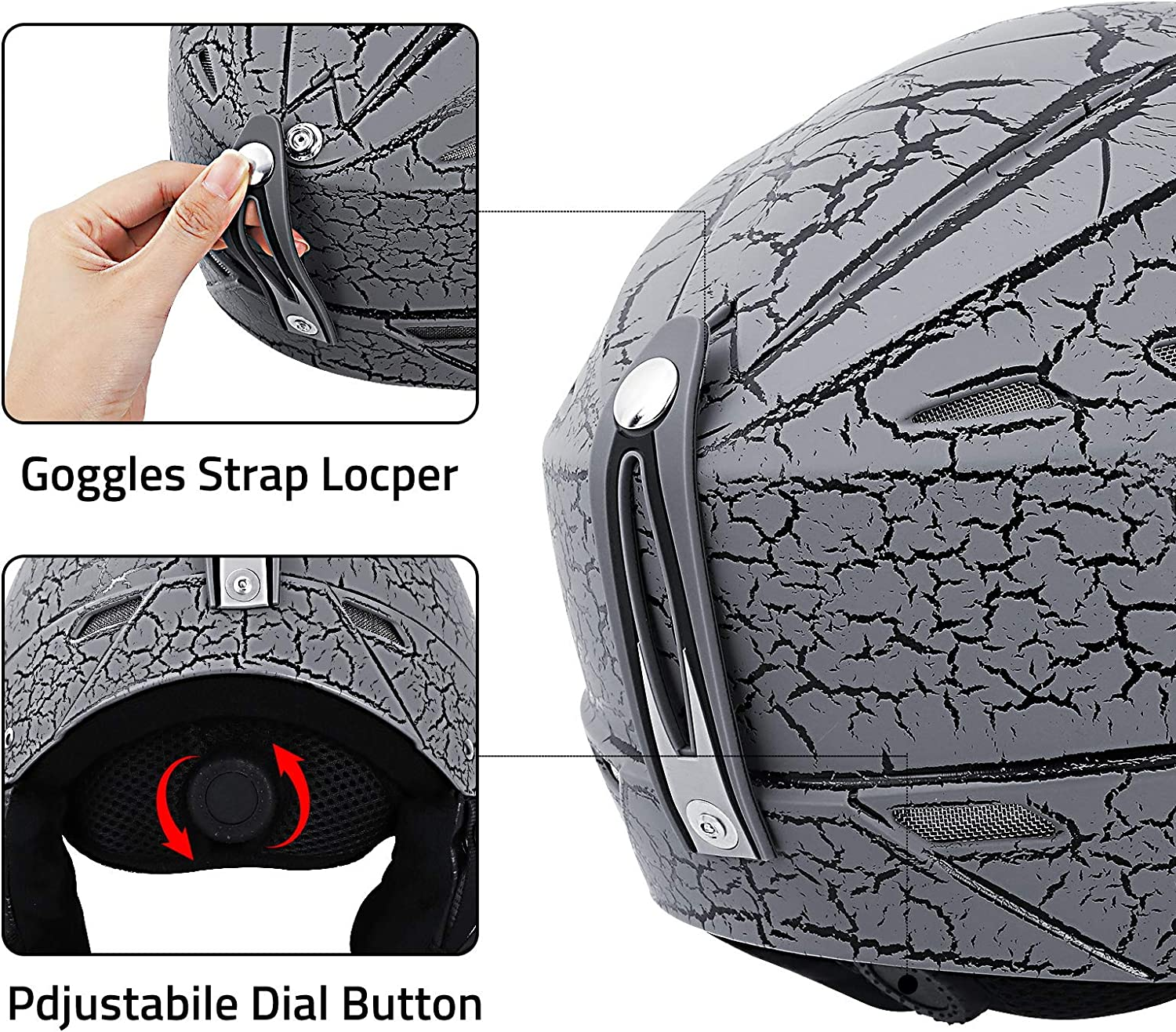 Dial Fit Goggles Compatible Ski Helmet Snowboard Helmet for Men Women Youth Performance Safety w//Active Ventilation PHZ Removable Fleece Liner and Ear Pads Snow Sport Helmets